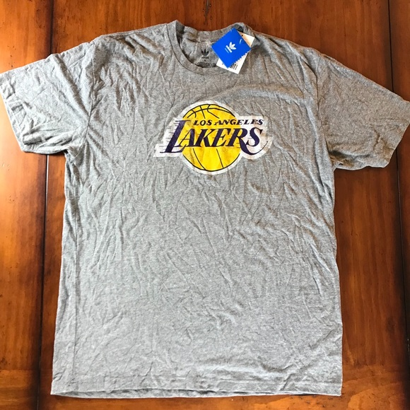 official photos 78165 7eed2 Adidas Grey Los Angeles Lakers T-Shirt